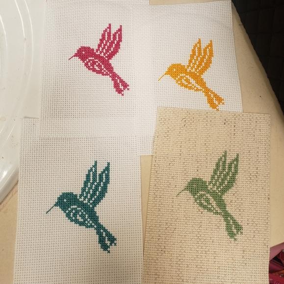 Cross Stitched Hummingbird Set